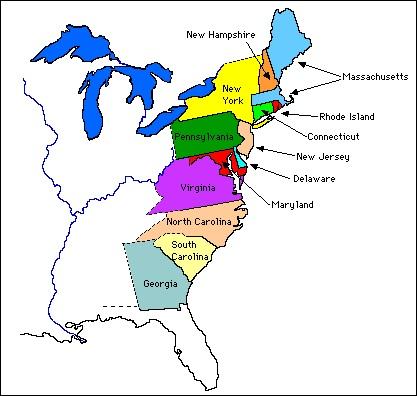 13 colonies ruled by King George III